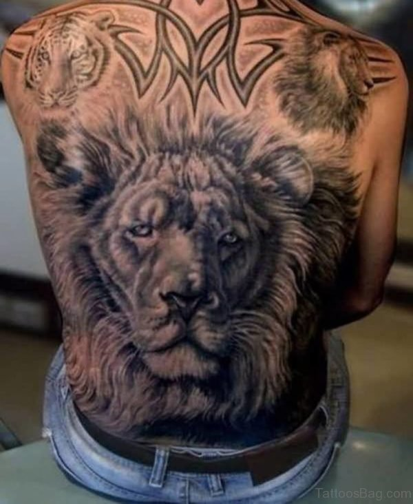 African Lion Head And Tribal Tattoo On Back