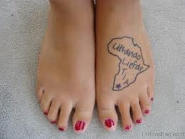 African Outline Map Wording Tattoo On Foot