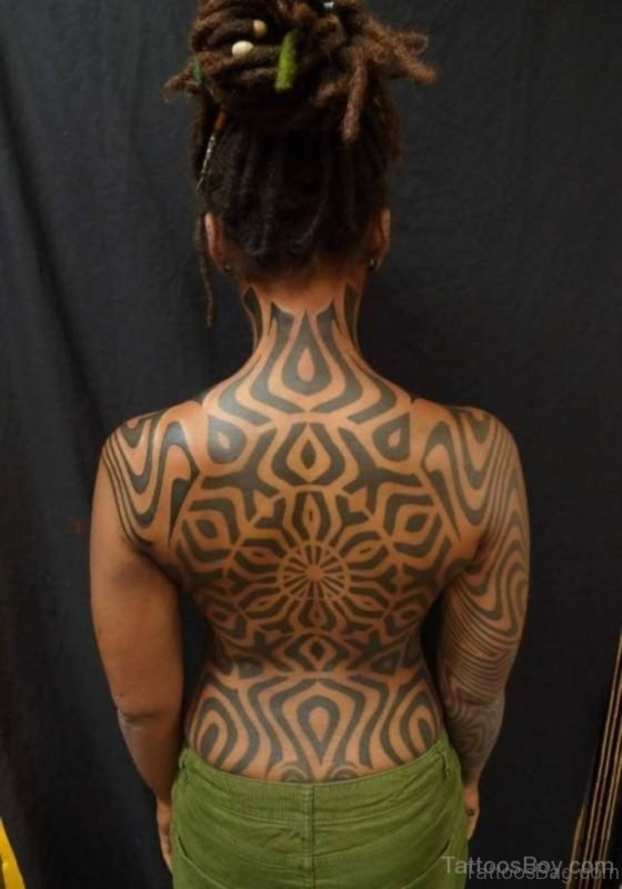 African Tribal Tattoo On Back