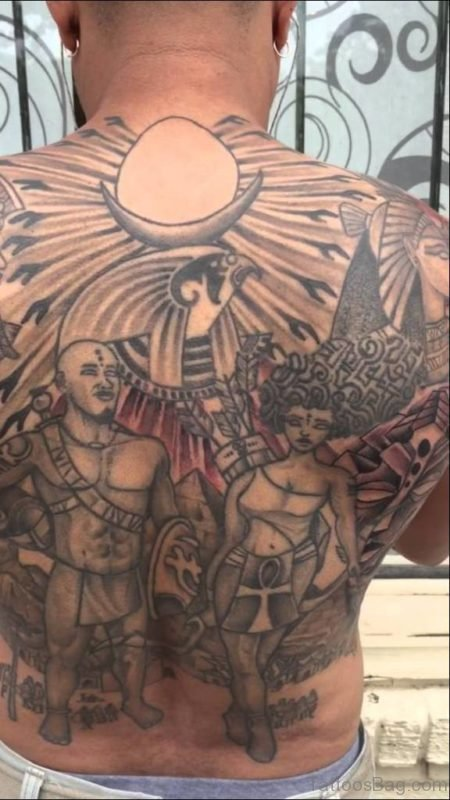 African Warrior Back Tattoo