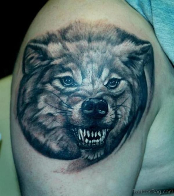 Aggressive Wolf Tattoo Design