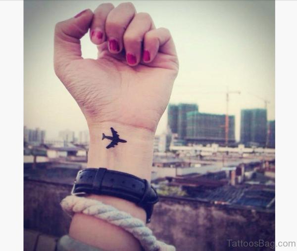 Airplane Tattoo Design On Wrist