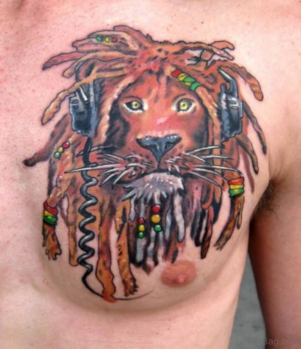Alien Lion Color Ink Tattoo On Man Chest