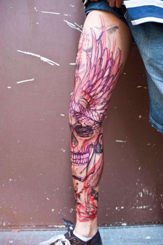 51 brilliant skull tattoos for leg. Black Bedroom Furniture Sets. Home Design Ideas