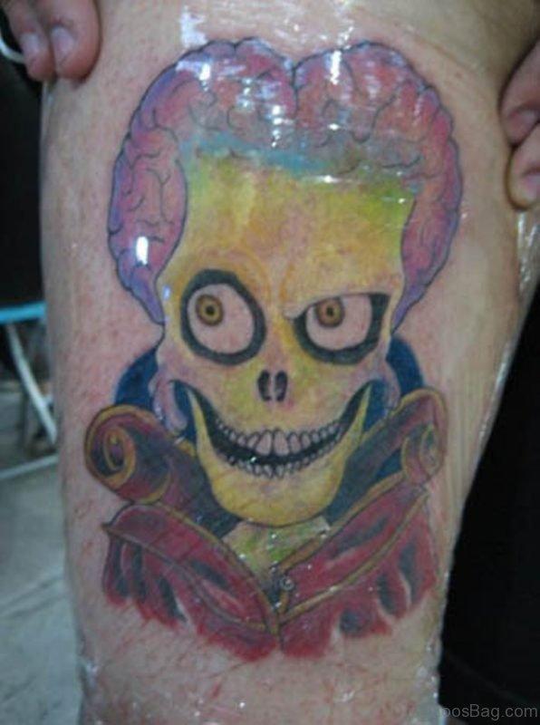 Alien Skull Tattoo On Leg Picture