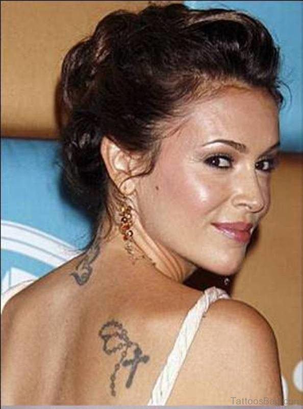 Alyssa Milano Om Tattoo On Neck