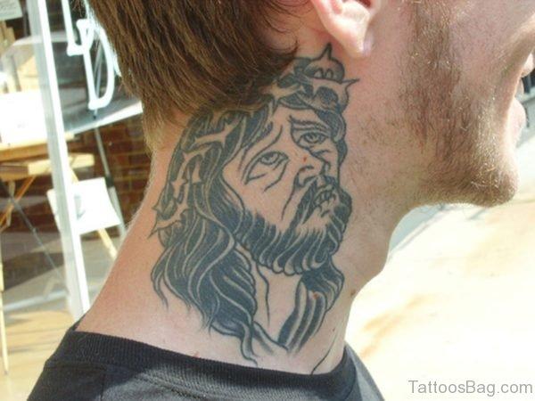 Amaizng Jesus Tattoo On Neck
