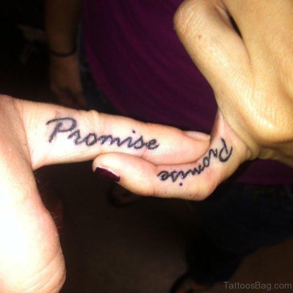 Amazing Promise Tattoo Design On Finger