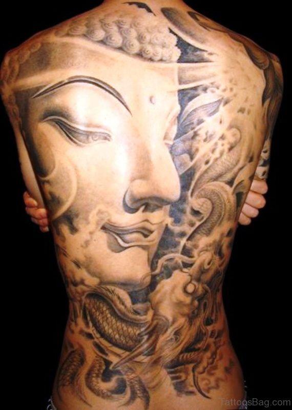 Amazing 3D Buddha Tattoo On Full Back