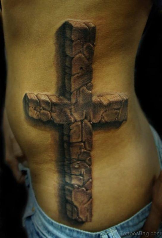 Amazing 3D Cross Tattoo On Side Rib