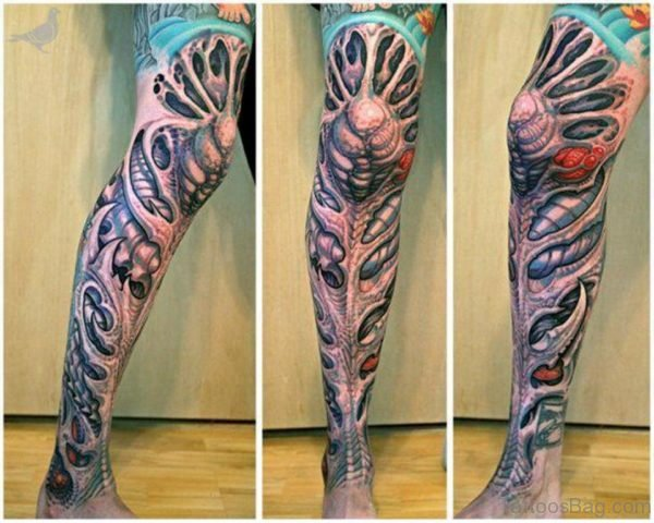 Amazing 3D Ripped Skin Tattoo On Full Leg