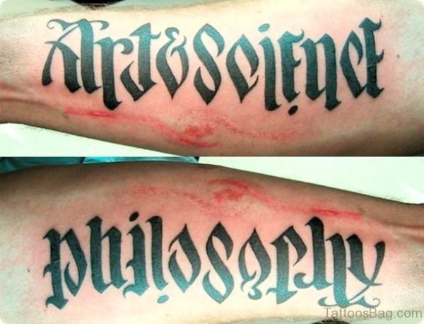 Amazing Ambigram Philosophy Lettering Tattoo Design For Arm