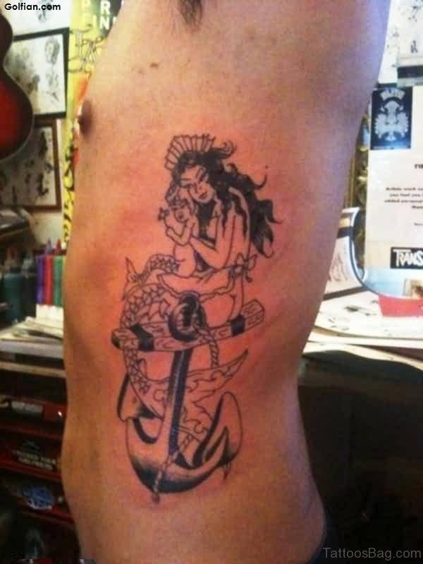 Amazing Anchor And Mermaid Tattoo On Rib
