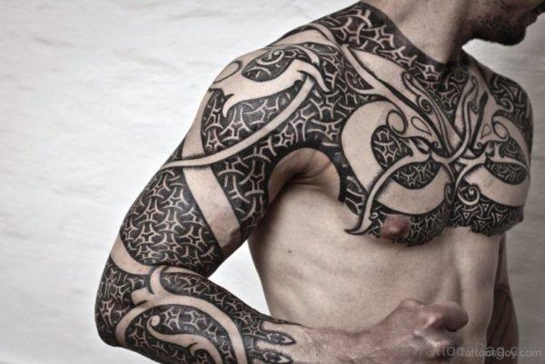 Amazing Armour Tattoo Design On Chest