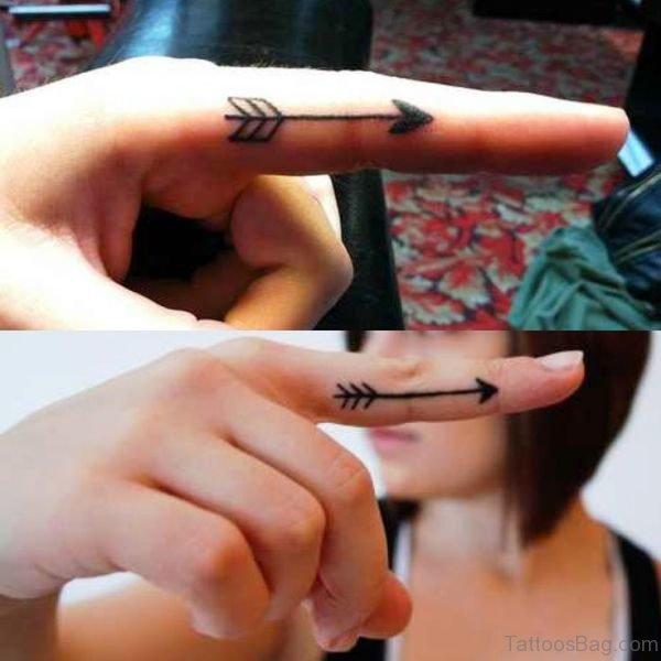 Amazing Arrow Tattoo On Finger