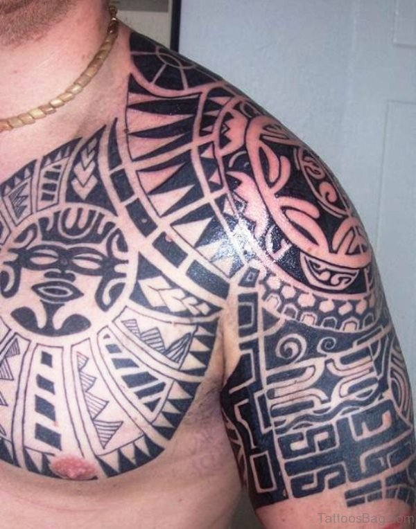 Amazing Aztec Shoulder Tattoo Design