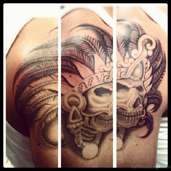 Amazing Aztec Skull Tattoo