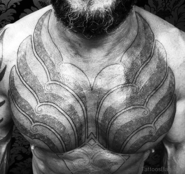 Amazing Battle Armour Tattoo On Chest