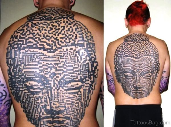 Amazing Big Face Buddha Tattoo On Back