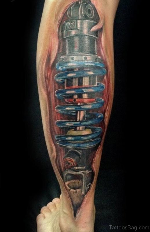 Amazing Biomechanical Tattoo Design On Leg
