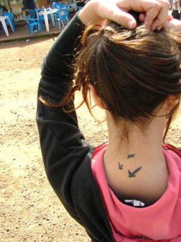 Amazing Birds Tattoo Design On Neck