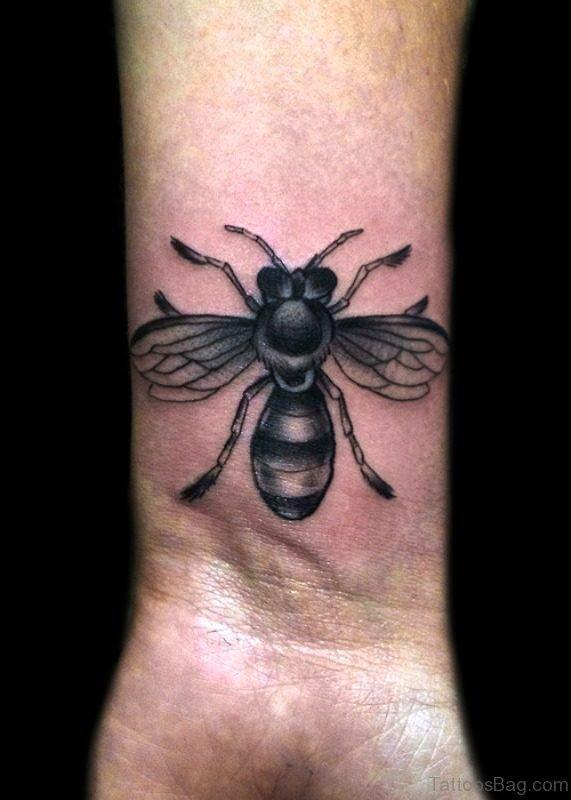 Amazing Black And Grey Bee Tattoo