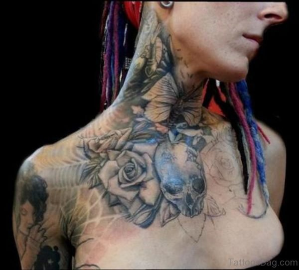Amazing Black And Grey Tattoo On Front Neck