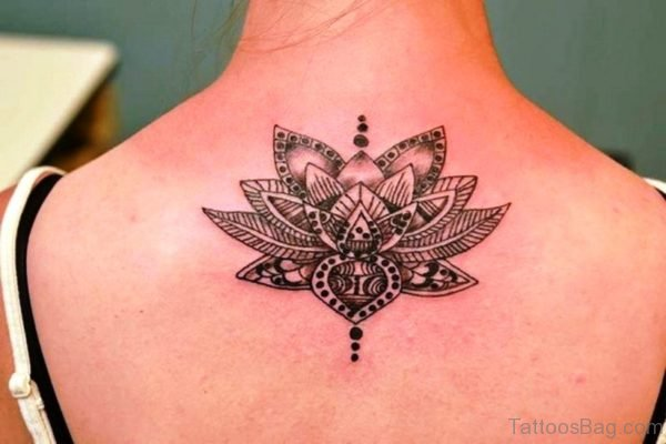 Amazing Black Lotus Neck Tattoo