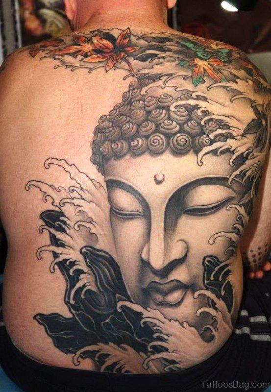 Amazing Buddha Face Tattoo On Full Back