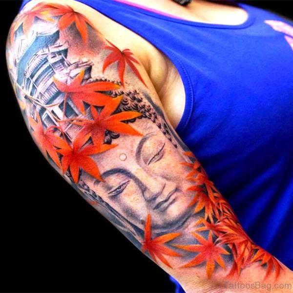 Amazing Buddha Tattoo Design With Flowers