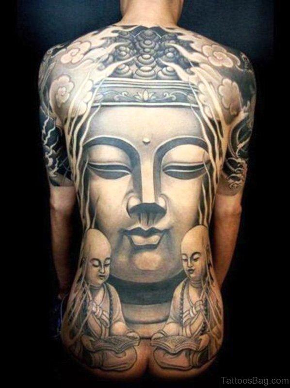 Amazing Buddha Tattoo On Back