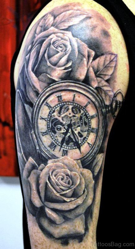 Amazing Clock And Rose Tattoo Design