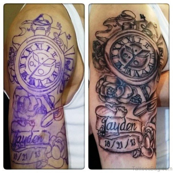 Amazing Clock Shoulder Tattoo