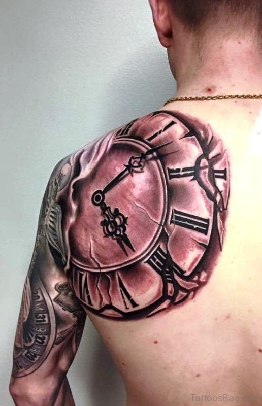Amazing Clock Tattoo Design On Shoulder Back