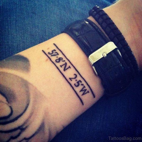 Amazing Coordinates Wrist Tattoo