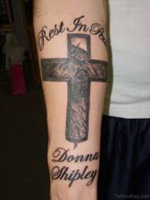Amazing Cross Tattoo On Arm