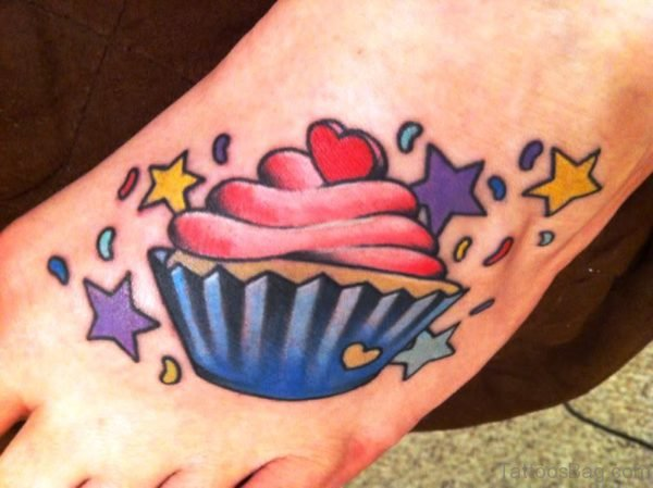 Amazing Cupcake Tattoo On Foot