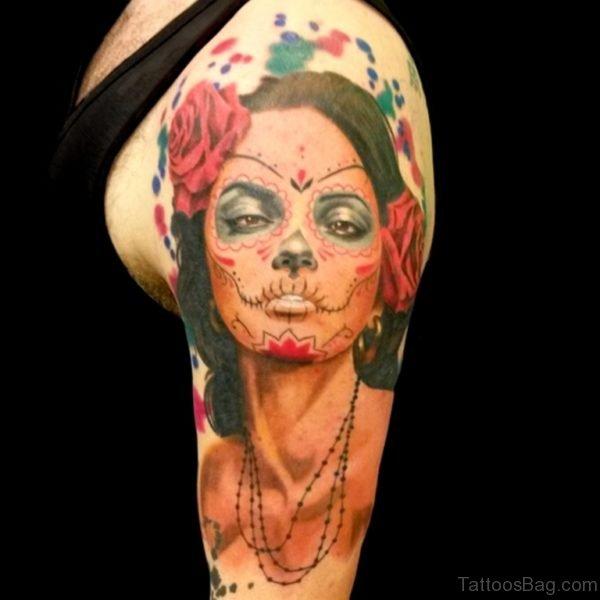 Amazing Devil Girl Portrait Tattoo