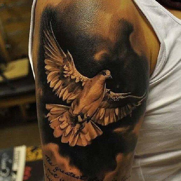 Amazing Dove Shoulder Tattoo