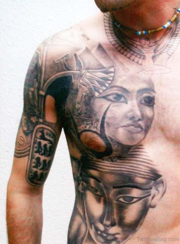 Amazing Egyptian Tattoo On Man Chest