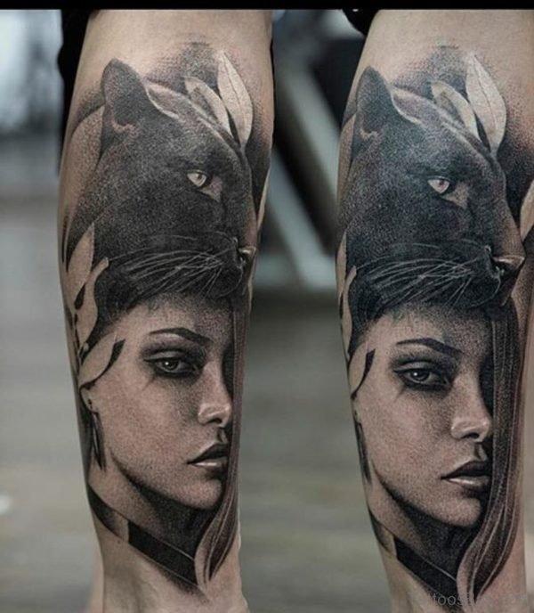 Amazing Fantastic Girl Portrait Tattoo On Leg