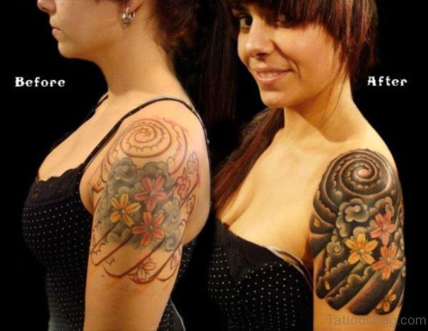 Amazing Flower Tattoo On Left Shoulder