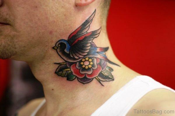 Amazing Flying Bird Tattoo On neck