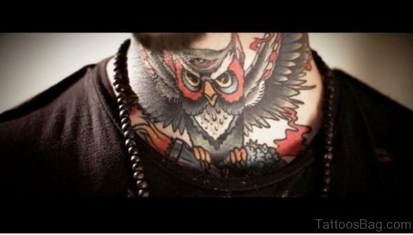 Amazing Flying Owl Tattoo On Front Neck