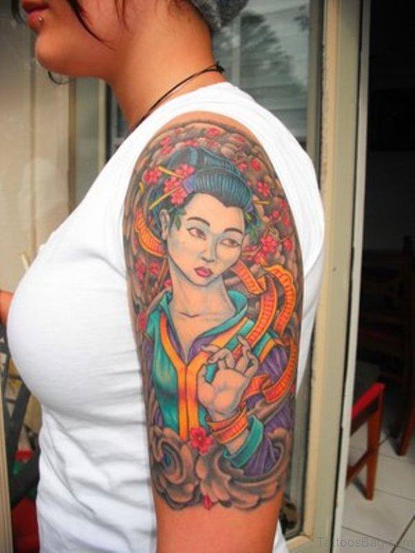 Amazing Geisha Ghost Tattoo