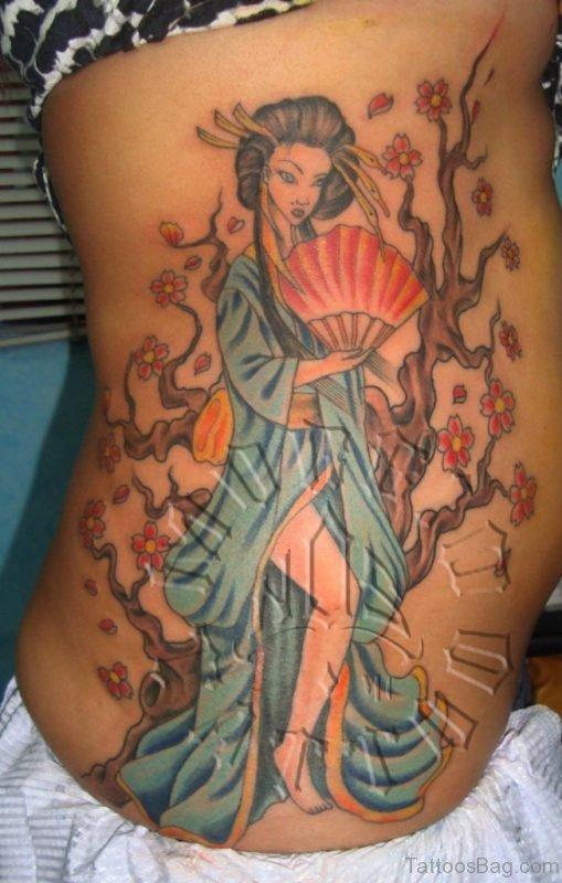 Amazing Geisha Portrait Tattoo On Rib