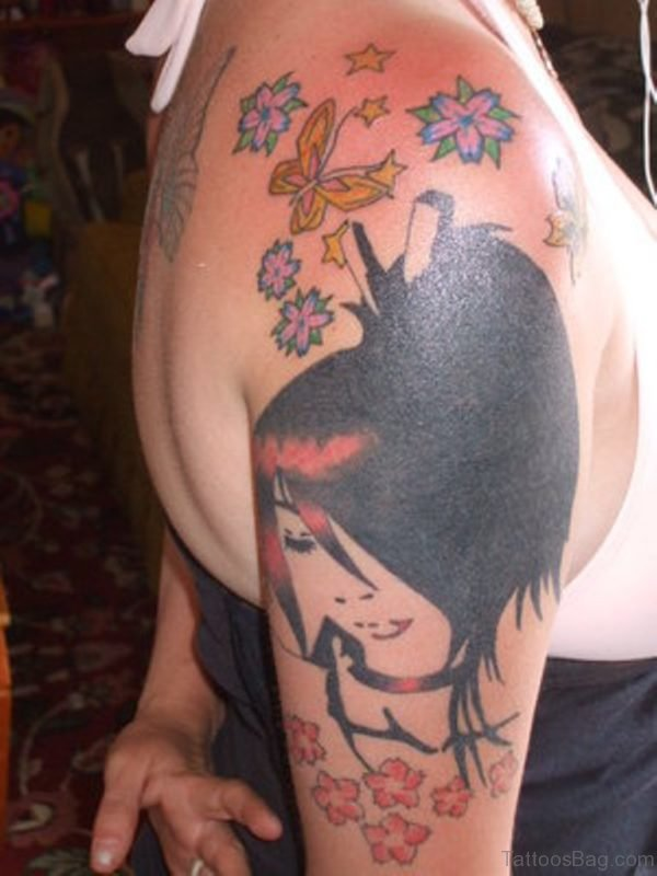 Amazing Geisha Tattoo On Shoulder