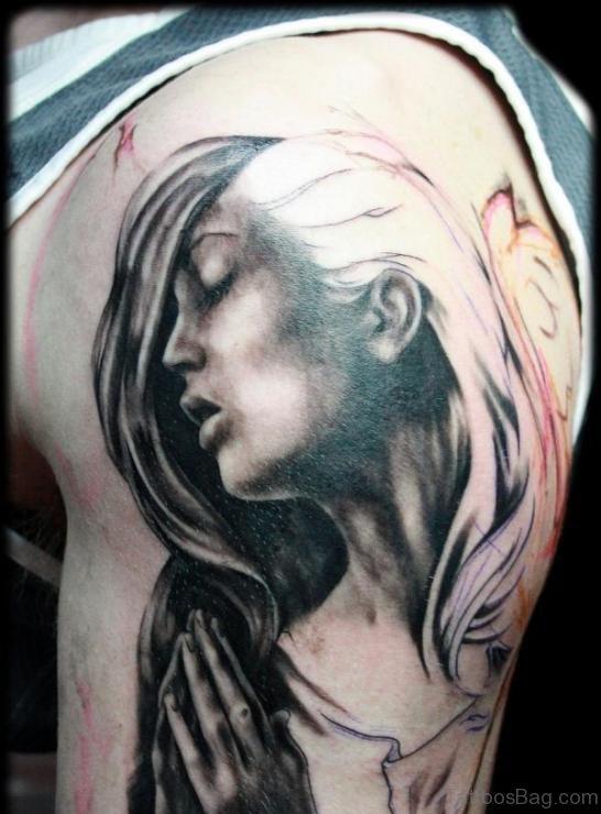 Amazing Girl Portrait Tattoo Design On Bicep