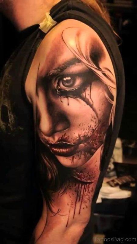 Amazing Girl Portrait Tattoo
