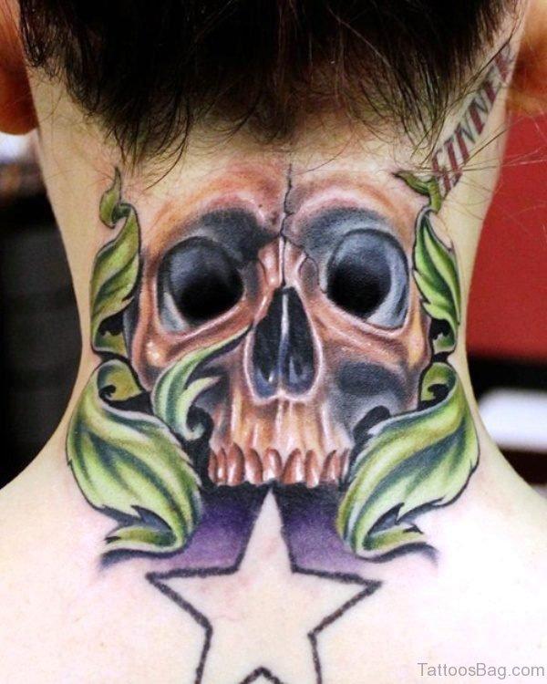 Amazing Green Skull Neck Tattoo
